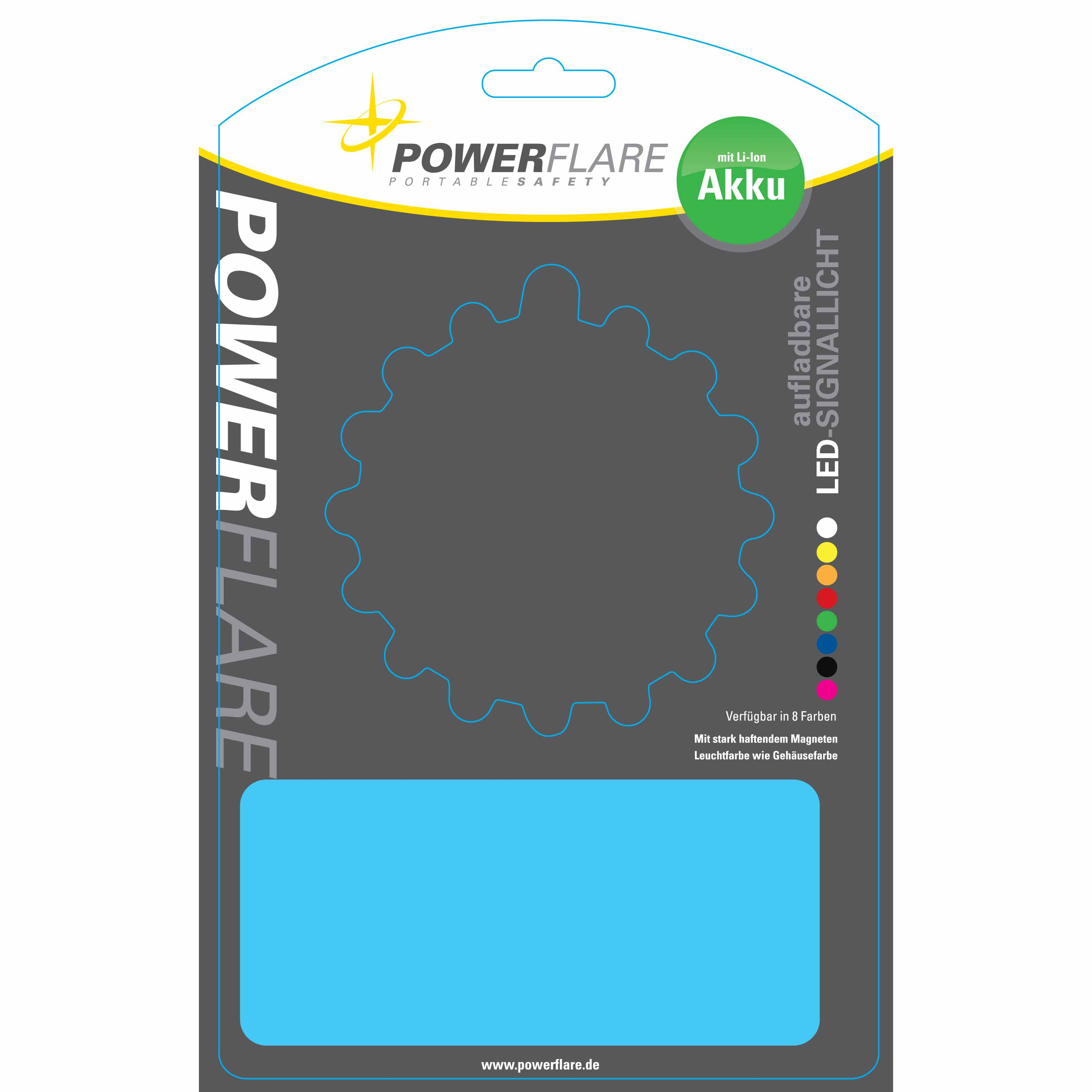 Powerflare LED Warnleuchte in Verpackung
